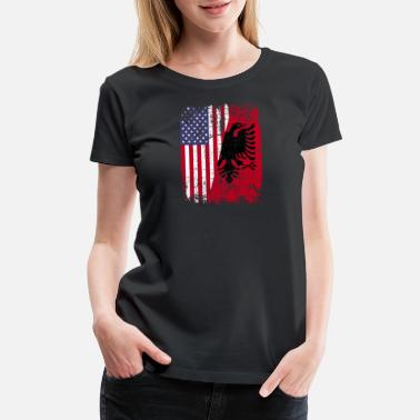 Albania Roots ALBANIAN ROOTS | American Flag | ALBANIA - Women's Premium T-Shirt