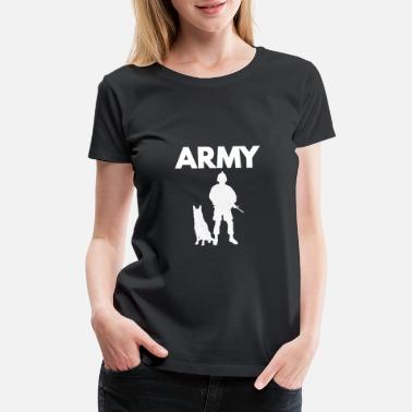 Paratrooper Army Soldier with Dog Weapon Gift T-Shirt - Women's Premium T-Shirt