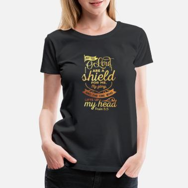 Cross The Lord Is A Shield Christian Religious Blessed - Women's Premium T-Shirt