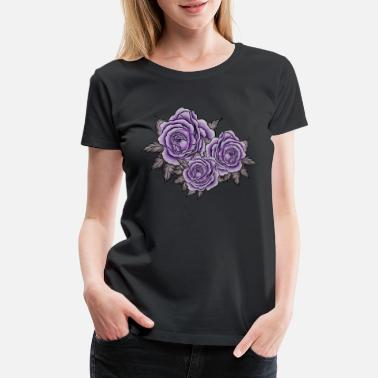 Filigree Roses rose petals watercolor gothic - Women's Premium T-Shirt