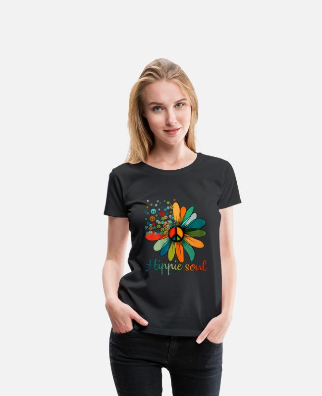 Lovers T-Shirts - Daisy Peace Sign Hippie Soul Flower Lovers - Women's Premium T-Shirt black