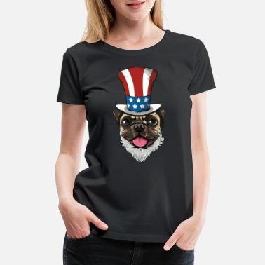 Soldier Pug Dog Uncle Sam Hat Lincoln Beard 4th Of July US - Women's Premium T-Shirt