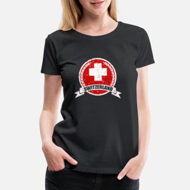 Red Switzerland Switzerland Swiss Cross on Red Circle - Women's Premium T-Shirt