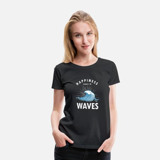 Waves T-Shirts - Surfing Water Sports Surf Boarder Wave Rider - Women's Premium T-Shirt black