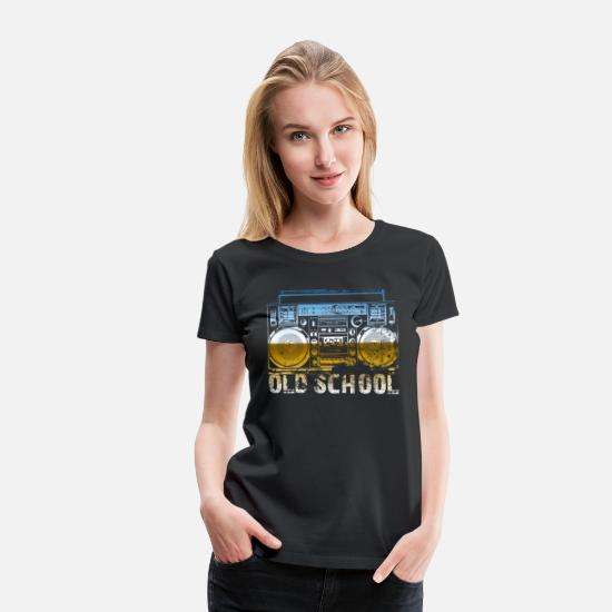Rap T-Shirts - Old School Lasonic Boombox Art - Women's Premium T-Shirt black