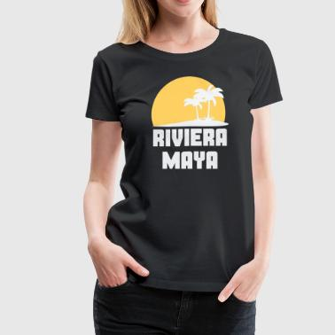 Riviera Maya Mexico Sunset Palm Trees Beach - Women's Premium T-Shirt