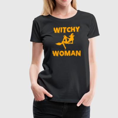 Witchy Woman Funny Halloween Witch Shirt - Women's Premium T-Shirt