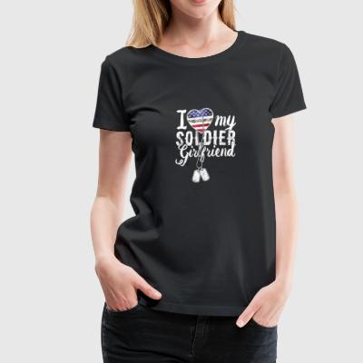 I Love My Soldier Girlfriend Dog Tag Military - Women's Premium T-Shirt