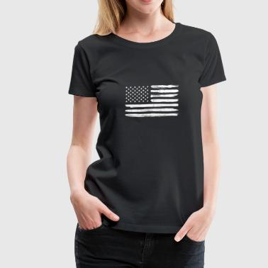 White Distressed Vintage American Flag USA US Flag - Women's Premium T-Shirt