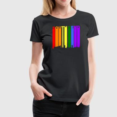 South Bend Indiana Gay Pride Rainbow Skyline - Women's Premium T-Shirt