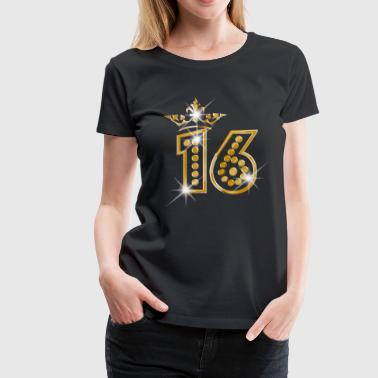 16 - Birthday - Queen - Gold - Burlesque - Women's Premium T-Shirt