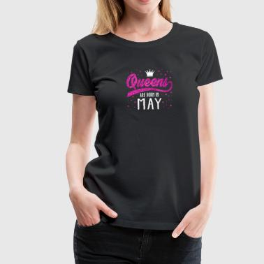 Pink Glitter Queens Are Born In May - Women's Premium T-Shirt