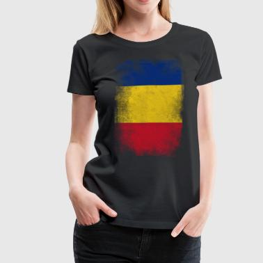 Romania Flag Proud Romanian Vintage Distressed Shi - Women's Premium T-Shirt