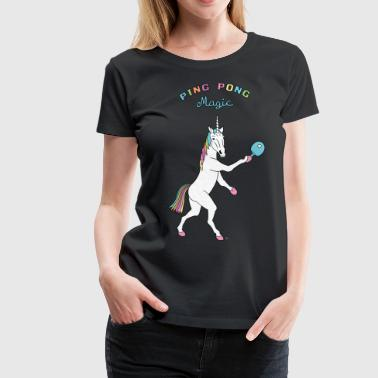 Ping Pong Magic Unicorn Outline - Women's Premium T-Shirt