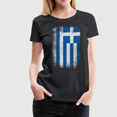 Greece Flag Proud Greek Vintage Distressed - Women's Premium T-Shirt