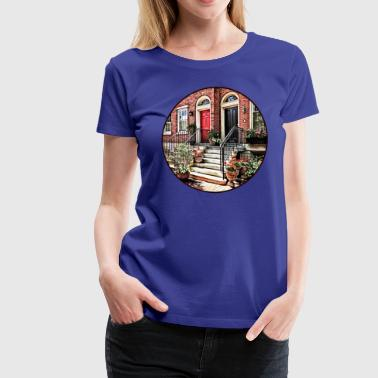 Philadelphia PA - Townhouse With Red Geraniums - Women's Premium T-Shirt