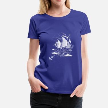 Above The Clouds A sailing ship above the clouds - Women's Premium T-Shirt
