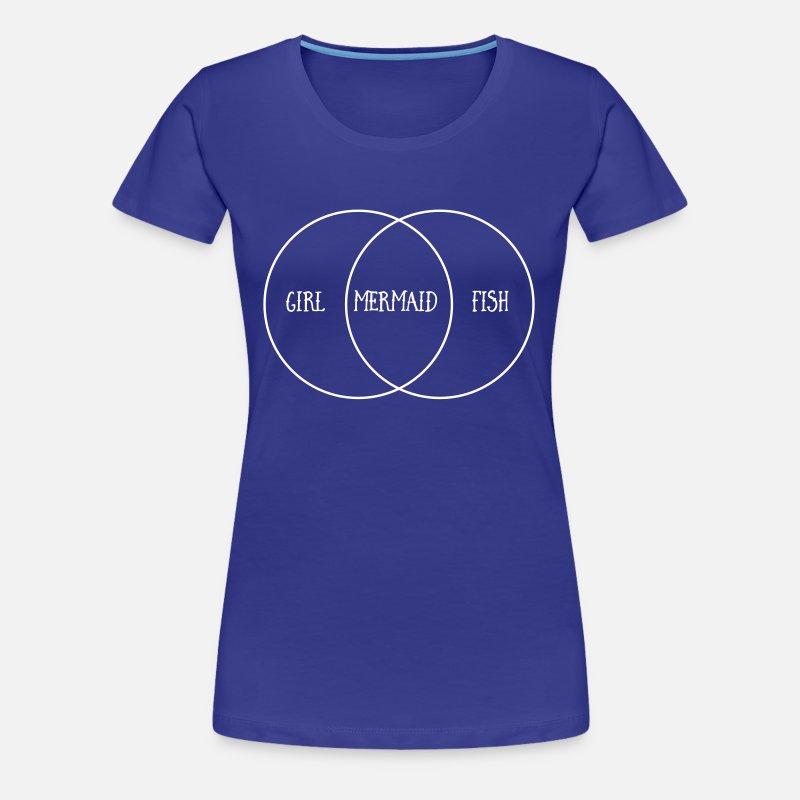 Venn Diagram  Girl  Mermaid  Fish Women's Premium T-Shirt - asphalt gray