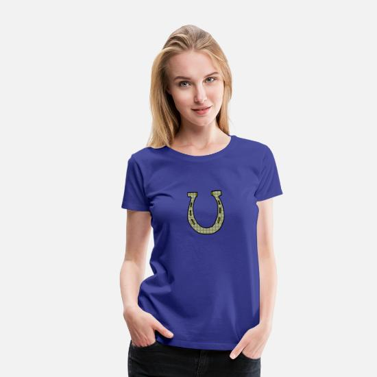 Luck T-Shirts - East Meets West Fusion Lucky Horseshoe - Women's Premium T-Shirt royal blue