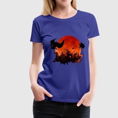 Halloween Spooky Blood Moon Ghostly Birds - Women's Premium T-Shirt