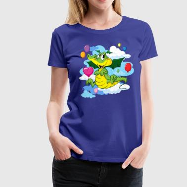 Cute Dragon Fly with Balloon and clouds on sky - Women's Premium T-Shirt