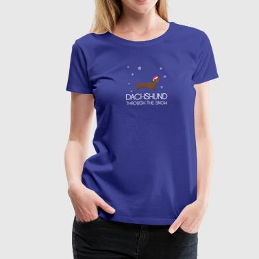 Dachshund Through The Snow Christmas TShirt - Women's Premium T-Shirt