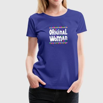 Original Woman - Tribal Design (White Letters) - Women's Premium T-Shirt