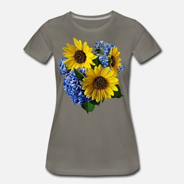 Flowers Sunflower Sunflowers and Hydrangeas - Women's Premium T-Shirt