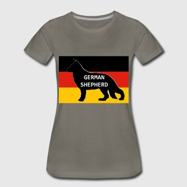 German Shepherd Flag german shepherd name silhouette on flag - Women's Premium T-Shirt