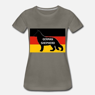 German Shepherd Silhouette german shepherd name silhouette on flag - Women's Premium T-Shirt