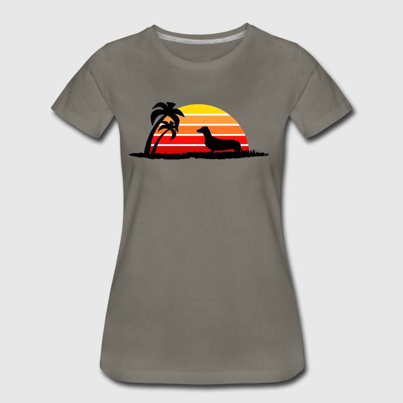 Dachshund on Sunset Beach - Women's Premium T-Shirt