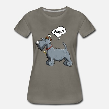 Scottish Terrier Puppy Playing Scottish Terrier - Cartoon - Gift - Fun - Women's Premium T-Shirt