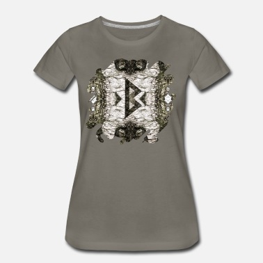 Irish Celtic Berkana Celtic Rune on Birch Bark - Women's Premium T-Shirt