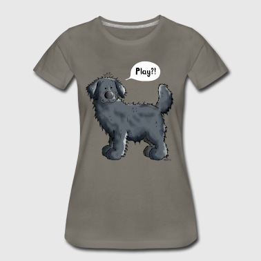 Black Newfoundland Dog Cartoon - Gift - Women's Premium T-Shirt