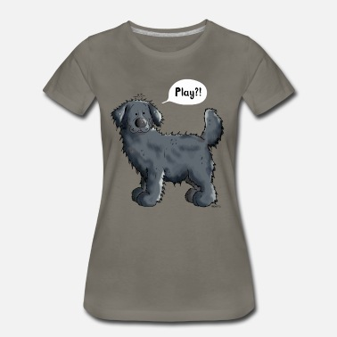 Black Newfoundland Dog Black Newfoundland Dog Cartoon - Gift - Women's Premium T-Shirt