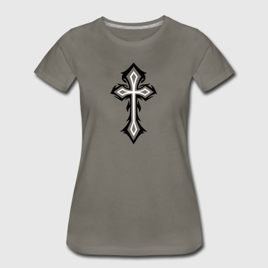 Cross, Crucifix, with thorns, gothic style. - Women's Premium T-Shirt