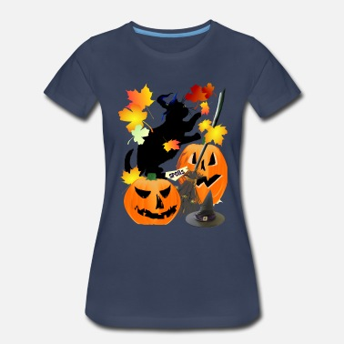 Halloween Cat Halloween Black Kitty Batting Pretty Leaves - Women's Premium T-Shirt