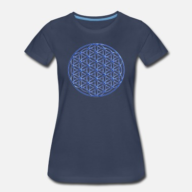 Cosmology Blue Flower of Life  - Women's Premium T-Shirt