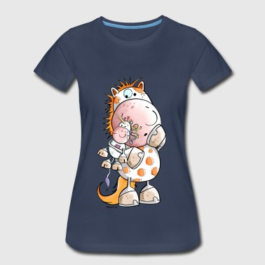 Funny Horse Cartoon Horse with unicorn doll - Cartoon - Gift - Funny - Women's Premium T-Shirt