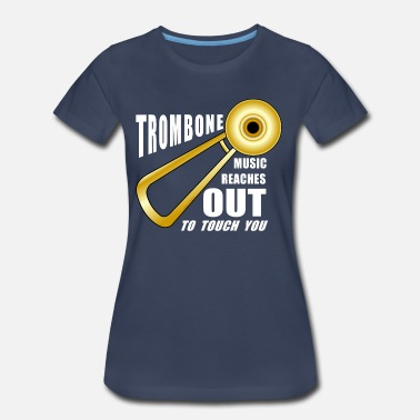 Trombone Trombone Reaches Out White Text - Women's Premium T-Shirt