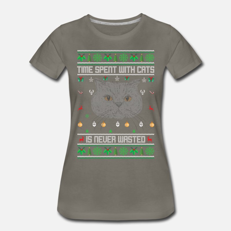 Cat Christmas Sweater.Ugly Cat Christmas Sweater Women S Premium T Shirt Asphalt Gray