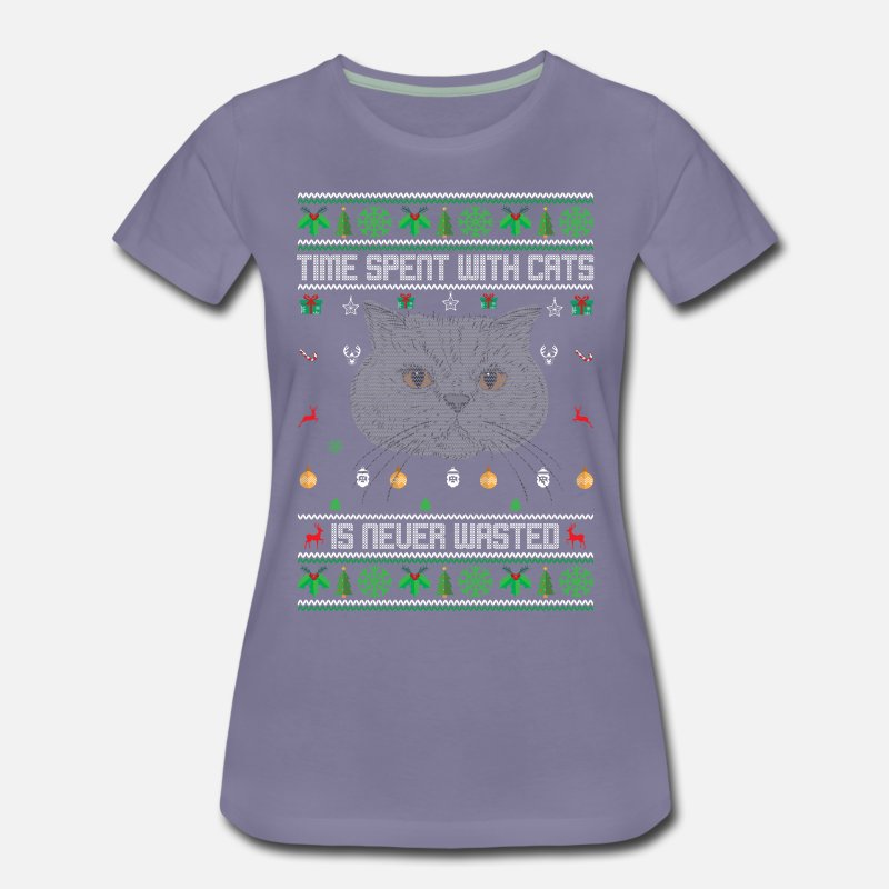 Cat Christmas Sweater.Ugly Cat Christmas Sweater Women S Premium T Shirt Washed Violet
