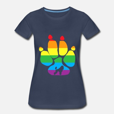 Gay Dog Poodle Paw Gay Pride LGBT Transgender Rainbow - Women's Premium T-Shirt