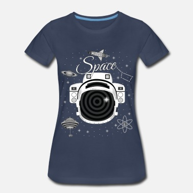 Techie Astronaut Helmet in Bear Space - Women's Premium T-Shirt