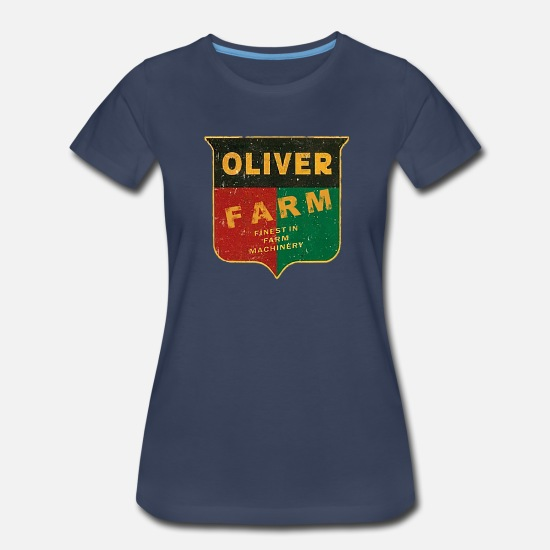 Tractor T-Shirts - Oliver Farm Equipment - Women's Premium T-Shirt navy