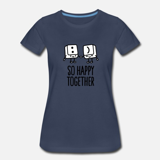 Day T-Shirts - Keyboard keys smiley - So happy together - Women's Premium T-Shirt navy
