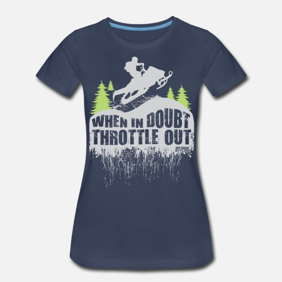 Snowmobile T-Shirts - Snowmobile Throttle Out - Women's Premium T-Shirt navy