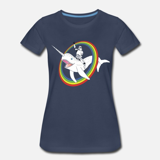 Funny T-Shirts - Narwhal Rainbow Stormtrooper - Women's Premium T-Shirt navy