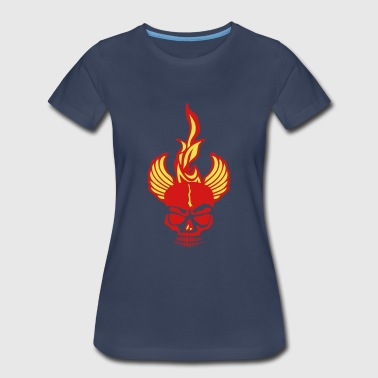 skull dead head fire flame fire wing - Women's Premium T-Shirt