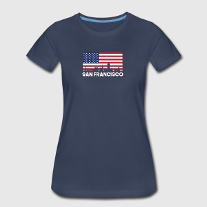 San Francisco CA American Flag Skyline - Women's Premium T-Shirt